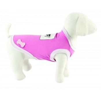 "Ferribiella / Феррибиэлла Футболка ""Woof!"" (розовый) на длину 30 см"
