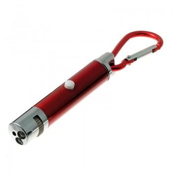 ZooOne Указка лазерная для игры с кошкой (5 свет. фигур) с фонариком (красный)