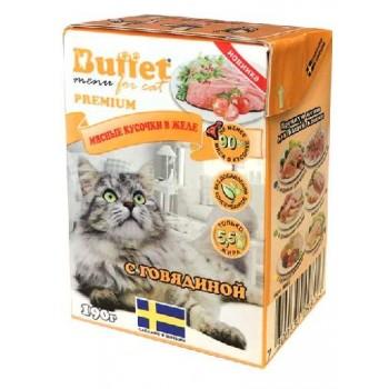 Buffet Мясные кусочки в желе для кошек с говядиной (Tetra Pak 190г)