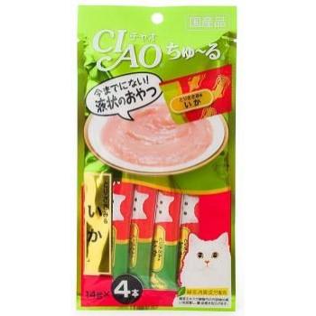 Inaba Чао Чуру пюре для кошек куриное филе+кальмар, 56 гр