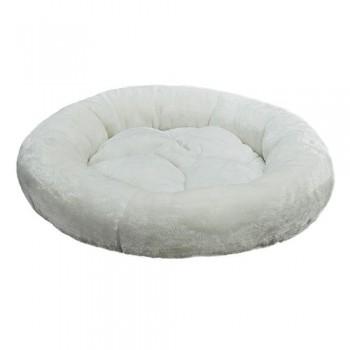 Зооник Лежанка круглая с подушкой, белый мех (480х150)