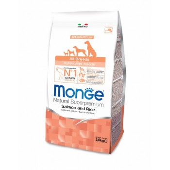 Monge / Монж Dog Speciality Puppy&Junior корм для щенков всех пород лосось с рисом 2,5 кг