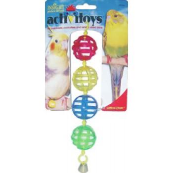 JW Игрушка д/птиц - Цепочка из решетчатых шариков с колокольчиком, пластик, Activitoys Lattice Chain (31036)