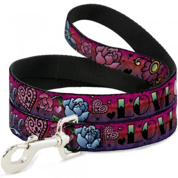 Buckle-Down / Бакл-Даун Любовь розовый цвет поводок 120 см