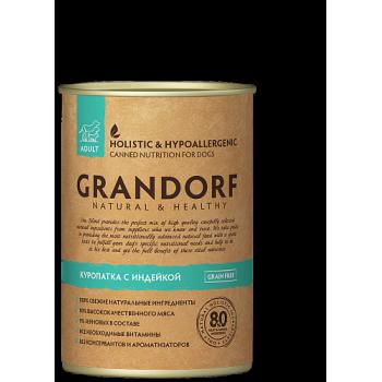 Grandorf / Грандорф консервы для собак Куропатка и Индейка (QUAIL & TURKEY), 0.4 кг
