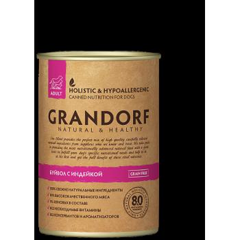 Grandorf / Грандорф консервы для собак Буйвол и Индейка, 0.4 кг