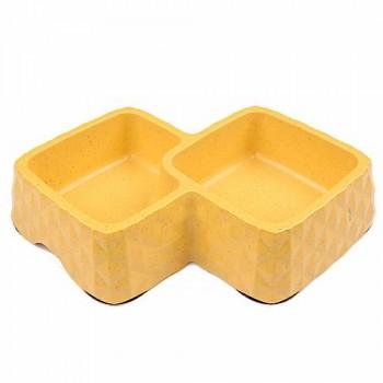 Bobo Миска двойная, 29.9x18.9x5.5см, 360+430 мл, желтый