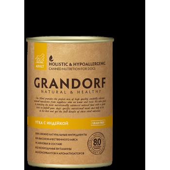 Grandorf / Грандорф консервы для собак Утка и Индейка, 0.4 кг