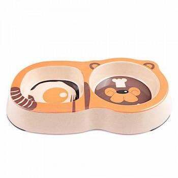 Bobo Миска двойная, 26x14.5x3.5см, 200+250мл, оранжевый