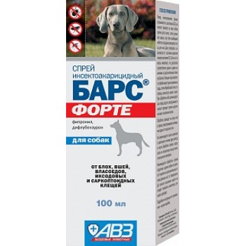 АВЗ БАРС ФОРТЕ спрей для собак инсектоакарицидный, 100 мл
