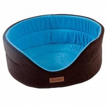 Katsu / Катсу SUEDINE 64х56х23 см лежак для животных искусственная замша коричнево-голубой