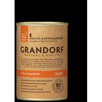 Grandorf / Грандорф консервы для собак Гусь и Индейка, 0.4 кг