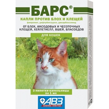 АВЗ БАРС капли для кошек против блох и клещей, 3 пипетки по 1.0 мл