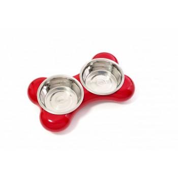 Hing / Хинг Миски на подставке Косточка, нержав, 2шт*1500мл (Англия), 10*30*49см, красный