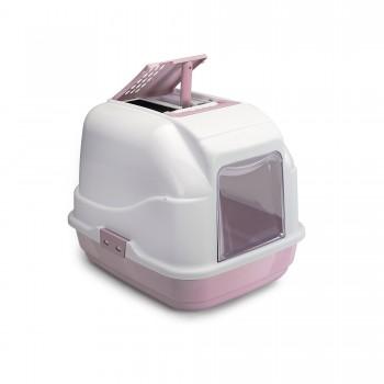 Imac / Имак туалет д/кошек закрытый EASY CAT, белый/пепельно-розовый, 50х40х40 см