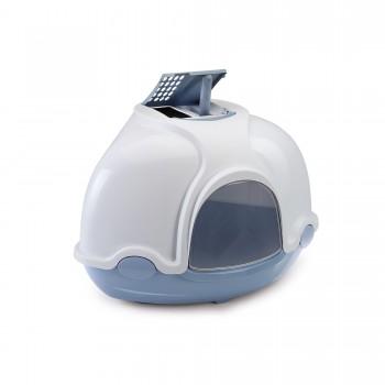 Imac / Имак туалет д/кошек закрытый угловой GINGER, пепельно-синий, 50х40х40 см
