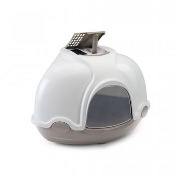 Imac / Имак туалет д/кошек закрытый угловой GINGER, бежево-серый, 50х40х40 см