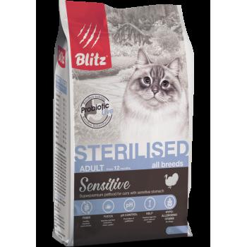 Blitz / Блитц Sensitive сух. корм д/стерилизованных кошек с Индейкой, 2 кг