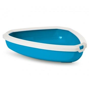 Savic / Савик Туалет угловой д/кошек Rincon c бортом, синий 58.5*45.5*12.5 см А2017