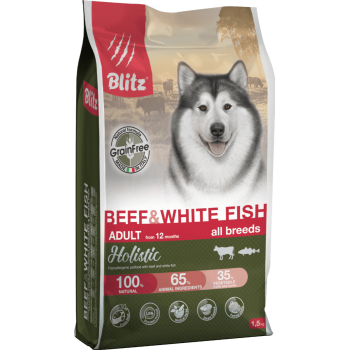 Blitz / Блитц Holistic сух. корм д/собак беззерновой Говядина и Белая рыба, 1,5 кг