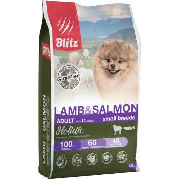 Blitz / Блитц Holistic сух. корм д/взрослых собак мелких пород беззерновой Ягненок и Лосось, 1,5 кг
