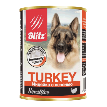 Blitz / Блитц Sensitive Кон. д/собак Индейка с Печенью, 400 гр