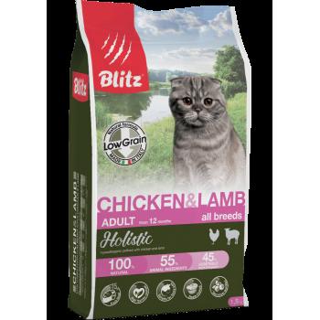 Blitz / Блитц Holistic 891 ADULT CAT CHICKEN & LAMB низкозерновой корм для кошек Курица и Ягненок, 5 кг