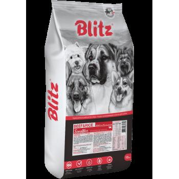 Blitz / Блитц ADULT BEEF & RICE корм для взрослых собак Говядина и рис, 15 кг
