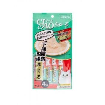 Inaba Чао Чуру пюре для кошек проф.цистита, желтоперый тунец, 56 гр