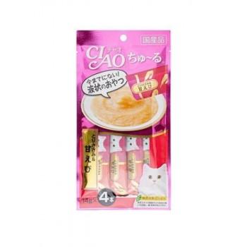 Inaba Чао Чуру пюре для кошек куриное филе+креветка, 56 гр