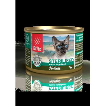 Blitz / Блитц мясной паштет для стерилизованных кошек и кастрированных котов, Утка и Индейка, 200 гр