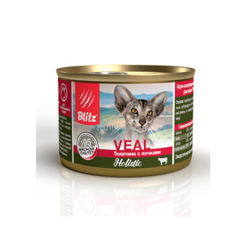 Blitz / Блитц мясной паштет для кошек Телятина с Почками, 200 гр