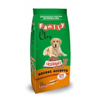 Clan / Клан Family сухой корм для собак Мясное ассорти № 3, 15 кг