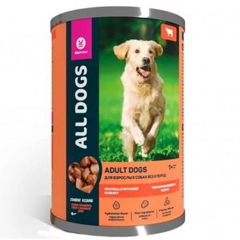 All Dogs / Олл Догс Корм консервированый для собак Тефтельки с Говядиной в соусе, 415 гр