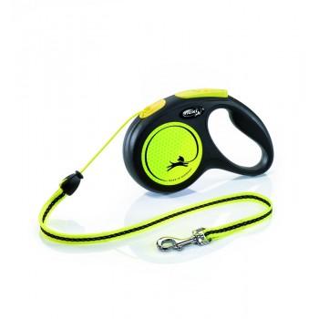 Flexi рулетка Neon S (до 12 кг) новый дизайн светоотражающий 5 м трос