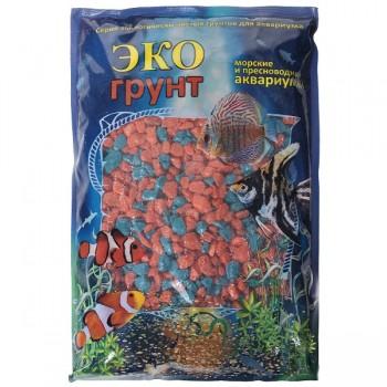 Эко Грунт цветная мраморная крошка 5-10 мм оранжево/бирюзовая (блестящая) 3,5 кг