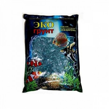 Эко Грунт цветная мраморная крошка 5-10 мм морская волна (блестящая) 3,5 кг