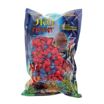 Эко Грунт цветная мраморная крошка 5-10 мм красно/синяя (блестящая) 3,5 кг