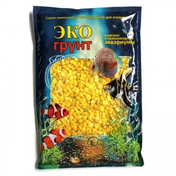 Эко Грунт цветная мраморная крошка 5-10 мм желтая (блестящая) 3,5 кг