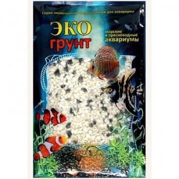 Эко Грунт цветная мраморная крошка 5-10 мм черно/белая (блестящая) 3,5 кг