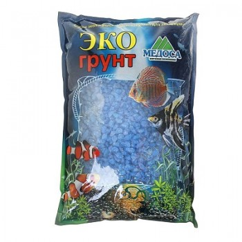 Эко Грунт цветная мраморная крошка 5-10 мм голубая (блестящая) 3,5 кг
