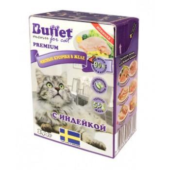 Buffet Мясные кусочки в желе для кошек с индейкой (Tetra Pak 190г)