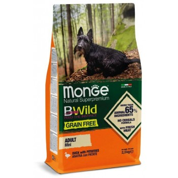 Monge / Монж Dog GRAIN FREE Mini беззерновой корм для собак мелких пород утка с картофелем 2,5 кг