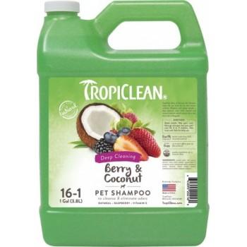 """TropiClean / Тропиклин Шампунь для собак «Tropiclean» 16:1 """"Ягодный с кокосом"""" от сильной грязи 3,78л"""