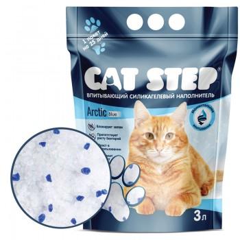 Cat Step / Кэт Степ Наполнитель впитывающий силикагелевый Arctic Blue, 3 л