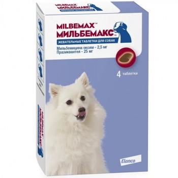 Мильбемакс 2,5/25мг антигельминтик д/щенков и маленьких собак 4 жев.таб