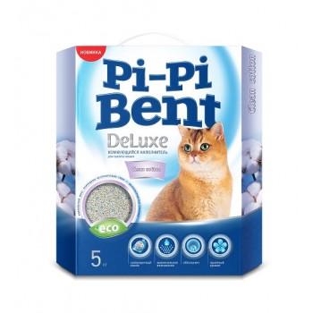 Pi-Pi Bent / Пи-Пи Бент наполнитель комкующийся для туалета кошек DeLuxe Clean Cotton, 5 кг