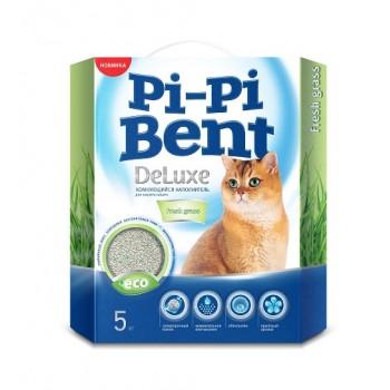 Pi-Pi Bent / Пи-Пи наполнитель комкующийся для туалета кошек DeLuxe Fresh Grass, 5 кг